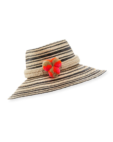 Guanabana Handmade Guajiro Striped Mawisa Sun Hat, Black/Natural
