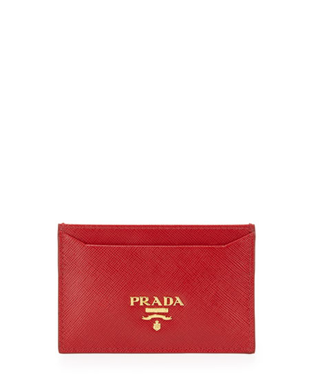 Prada Saffiano Card Holder, Black (Nero)