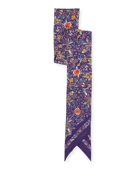 Long Skinny Floral Silk Scarf, Purple