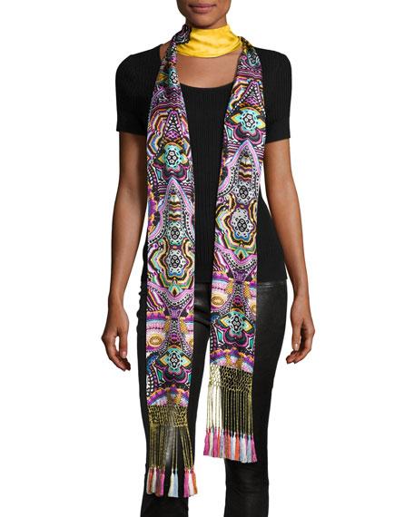 Roberto Cavalli Long Floral Silk Fringe Scarf, Gold/Multicolor