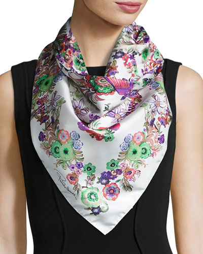 Floral Silk Satin Square Scarf, Pink/White