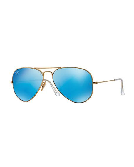 Ray-Ban Mirror Aviator Sunglasses, Golden/Blue