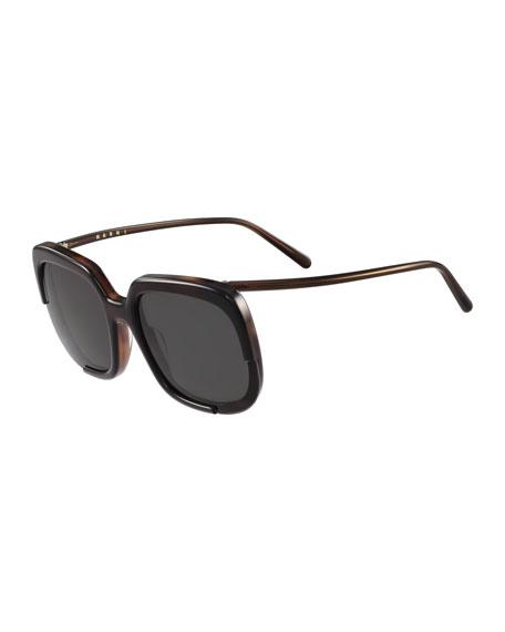 Marni Square Cutout Monochromatic Sunglasses, Black Havana