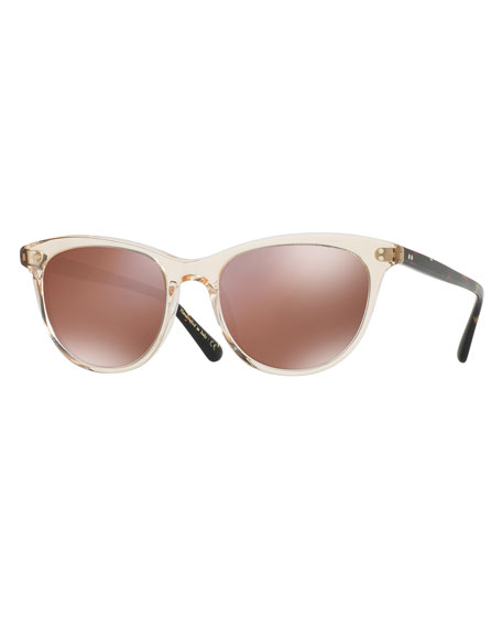 Oliver Peoples Jardinette Mirrored Square Sunglasses, Yellow