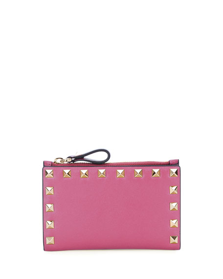 Rockstud Leather Flap Coin/Card Case, Pink