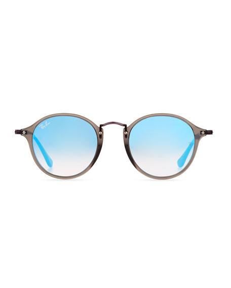 Gradient Iridescent Round Flash Sunglasses