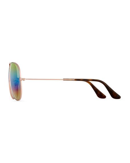 Standard Mirrored Iridescent Aviator Sunglasses, Gold