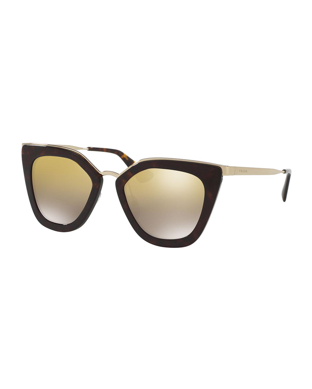 Prada Mirrored Square Cat-Eye Sunglasses   Neiman Marcus
