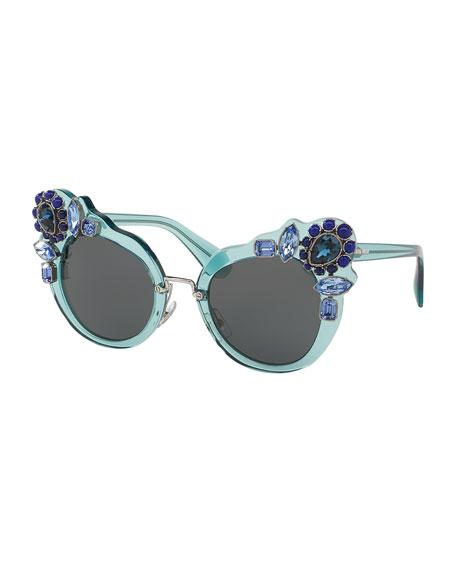 Monochromatic Embellished Dramatic Cat-Eye Sunglasses
