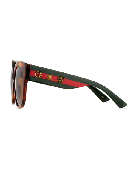 Special Edition Oversized Square Sunglasses, Tortoise/Green/Red
