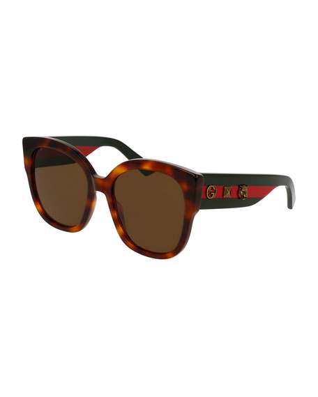 Gucci Special Edition Oversized Square Sunglasses, Tortoise/Green/Red