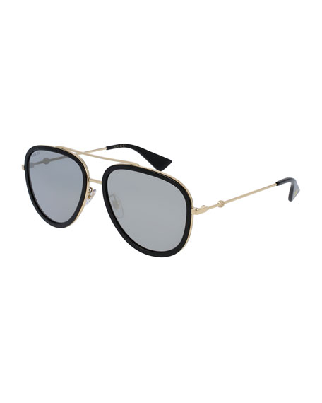 Gucci Mirrored Monochromatic Acetate-Trim Aviator Sunglasses,
