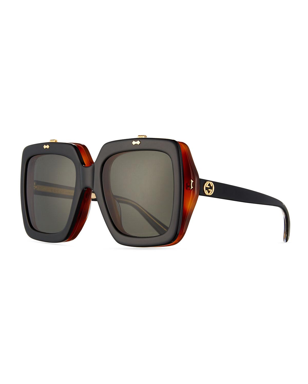 8f1b667e59 ... Gucci Oversized Square Flip Up Sunglasses Black Neiman Marcus