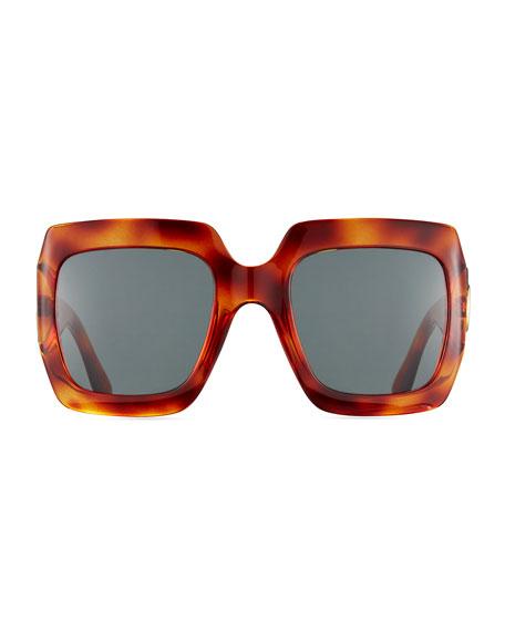 Oversized Square Sunglasses, Gold