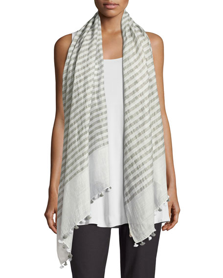 Eileen Fisher Lightweight Hand-Loomed Striped Scarf, Rain