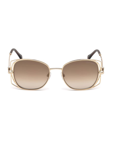 Roberto Cavalli Square Metal Open-Inset Sunglasses, Rose Gold