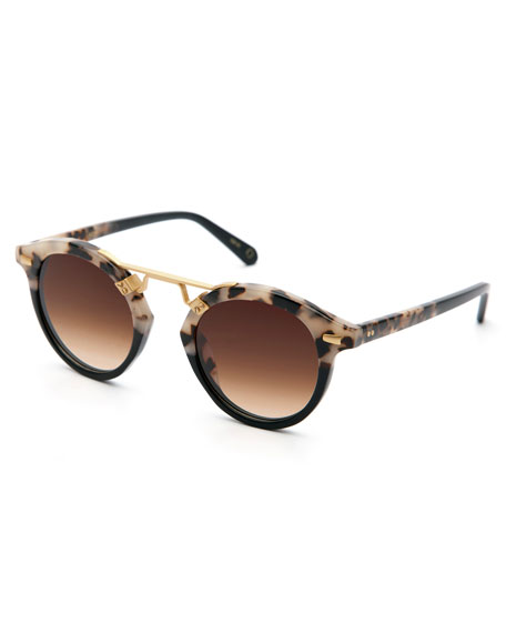 KREWE STL II Round Two-Tone Sunglasses, Black/Tortoise