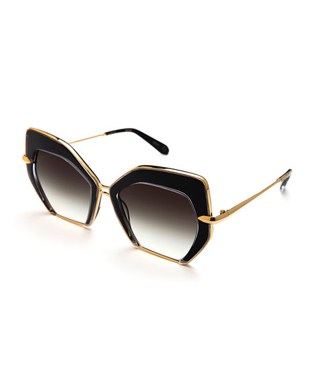 KREWE Octavia Geometric Sunglasses, Black