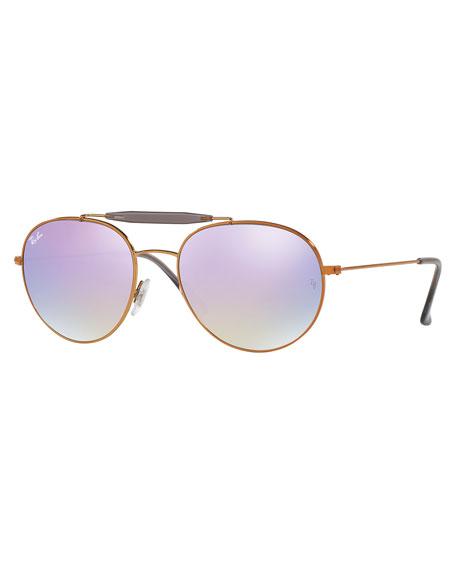 Ray-Ban Mirrored Round Brow-Bar Sunglasses, Blue/Bronze