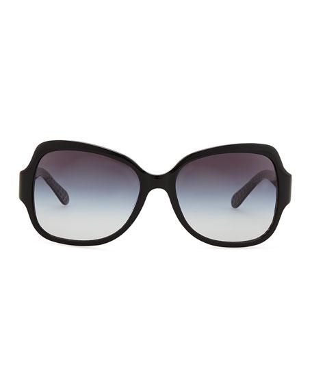 Tory Burch Logo-Temple Rectangle Sunglasses, Black