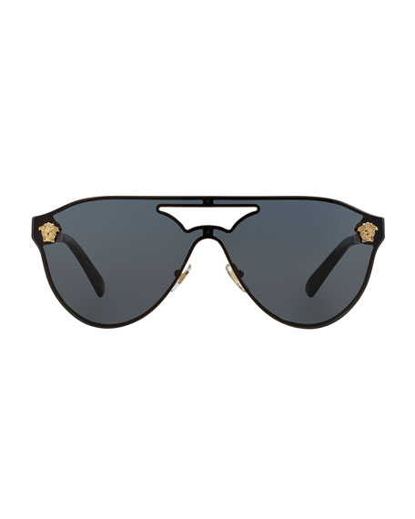 Mirrored Shield Brow-Bar Sunglasses