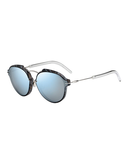Dior Eclat Notched Mirrored Sunglasses