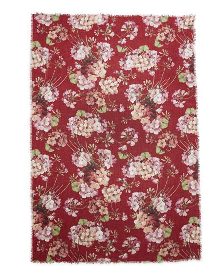 Cashmere-Blend Floral Geranium Stole