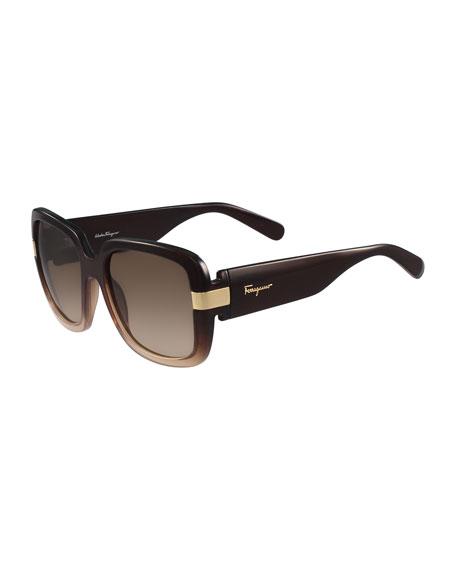 Gancio Two-Tone Square Sunglasses