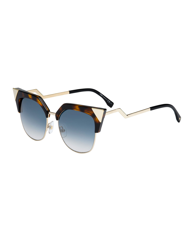 d6355a50d921 Fendi Half-rim Crystal Cat-eye Sunglasses