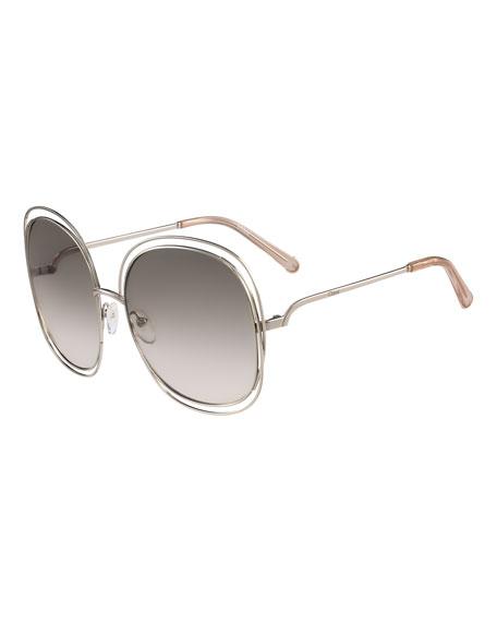 Chloe Carlina Trimmed Round Sunglasses