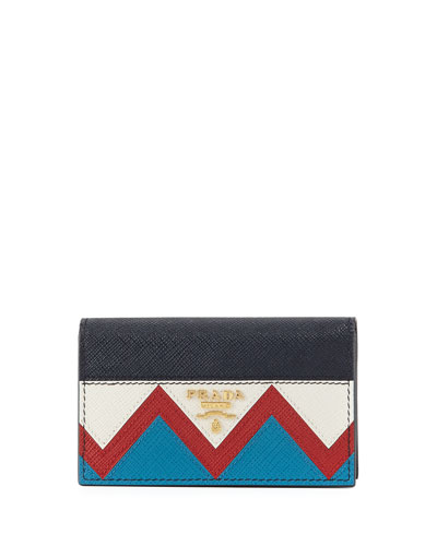 Greca Saffiano Flap Card Case