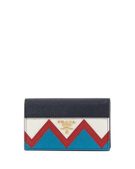Prada Greca Saffiano Flap Card Case