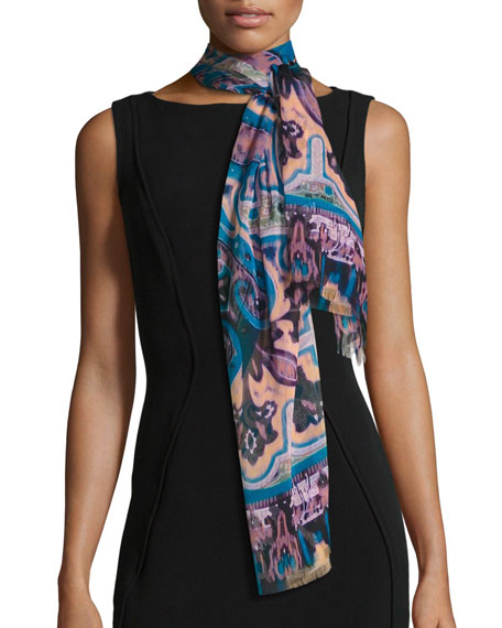 Etro Ikat Paisley Silk Chiffon Scarf, Turquoise