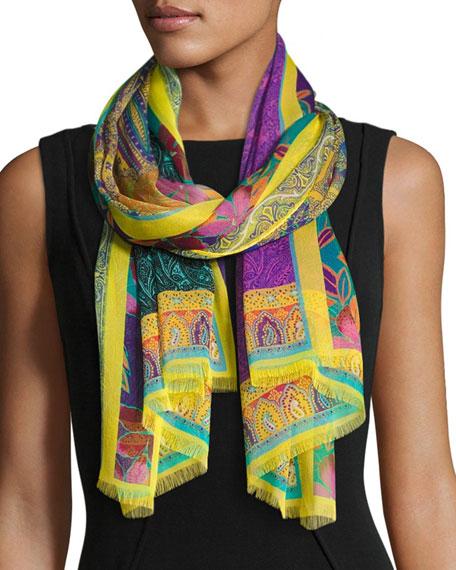 Etro Tropical Floral Silk Chiffon Scarf, Yellow/Purple