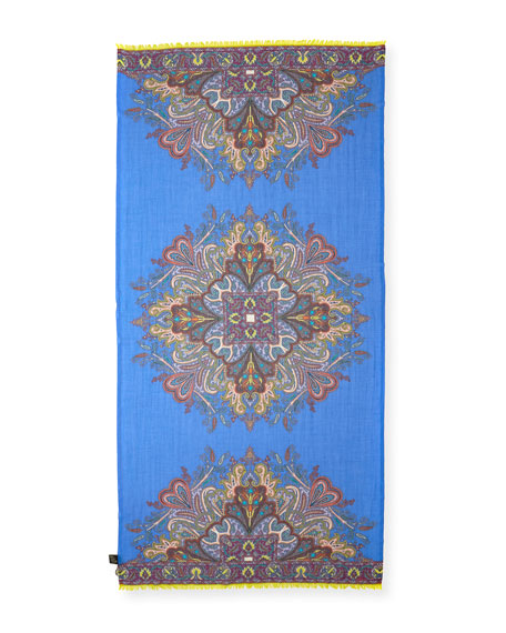 Lightweight Paisley Wool-Blend Scarf, Purple/Blue
