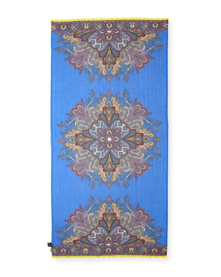 Lightweight Paisley Wool-Blend Scarf, Purple/Blue