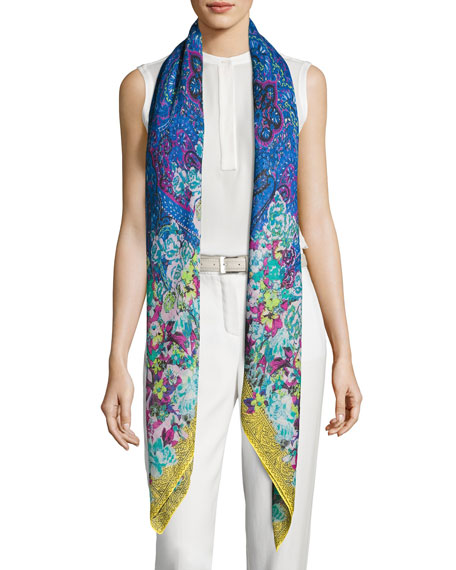 Floral Cashmere & Silk Square Scarf, Blue
