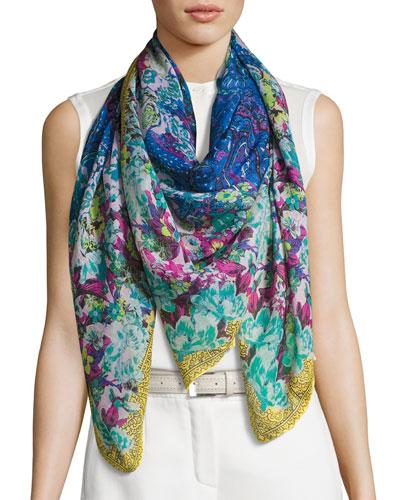Floral Cashmere & Silk Square Scarf, Blue