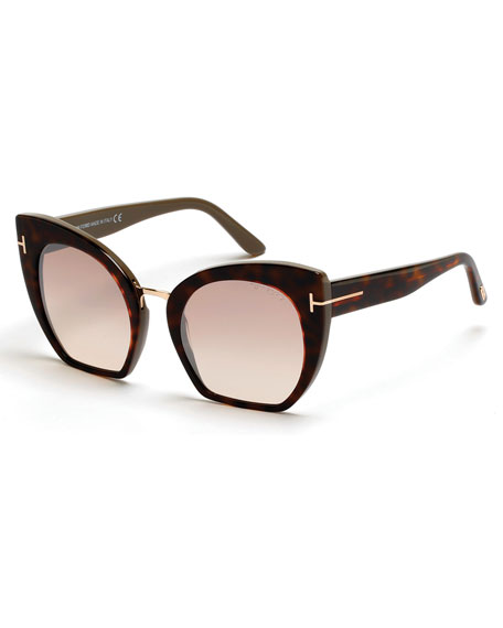 Samantha Cropped Cat-Eye Sunglasses, Brown/Havana