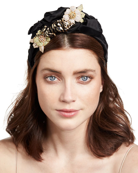 Tigre Floral Silk Satin Headband, Black