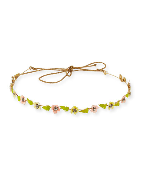 Madeline Painted Floral Bandeau Headband, Pink/Green