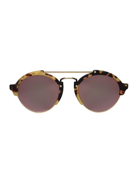 Milan II Mirrored Round Sunglasses