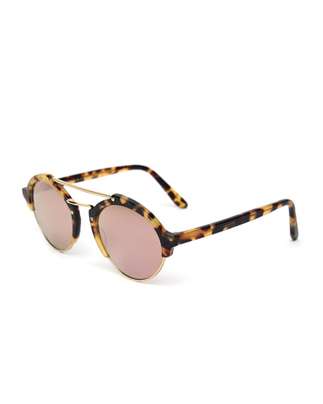 Illesteva Milan II Mirrored Round Sunglasses