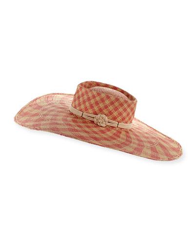 Monroe Floppy Check Sun Hat, Pink/White
