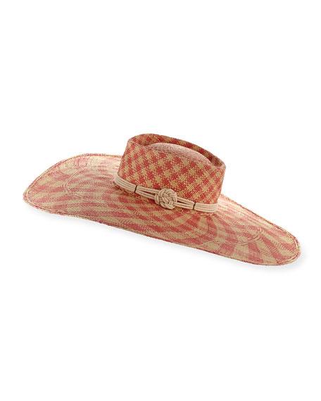 Gladys Tamez Monroe Floppy Check Sun Hat, Pink/White