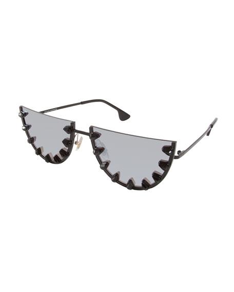 Palm Canyon Flat-Top Watermelon Sunglasses, Black
