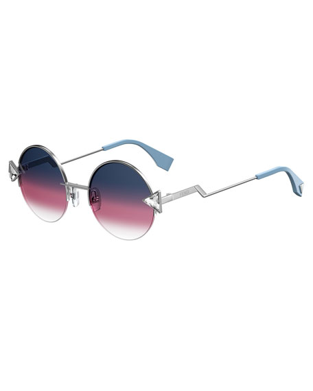 Fendi Rainbow Round Sunglasses, Purple/Gold