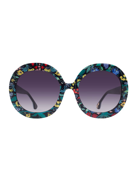 Alice + Olivia Melrose Round Floral Sunglasses, Multicolor