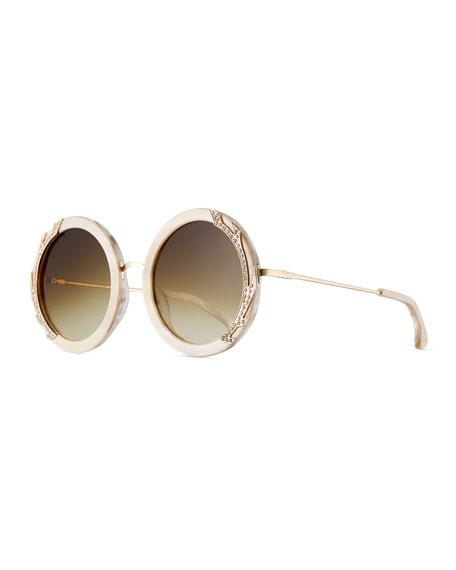 Alice + Olivia Beverly Round Swarovski?? Sunglasses, Nude