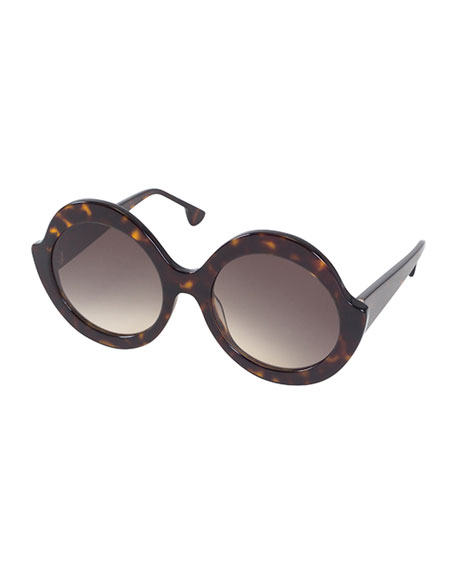 Alice + Olivia Stacey Notched Round Sunglasses, Brown